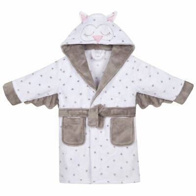 Girls Boys Childrens Novelty Owl Fleece Kids Robe Dressing Gown White
