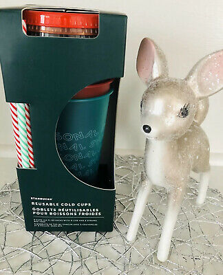 New Starbucks 2019 Holiday Reusable Cold Cups Straws Set Of 5 Christmas Winter