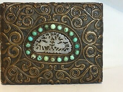 Estate Antique Vintage Chinese Bronze Brass Repousse Box Turquoise Jade Dragons