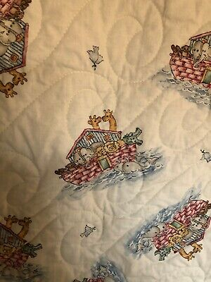 Noah's Ark Print Baby Quilt with Prairie Points and Machine Quilting