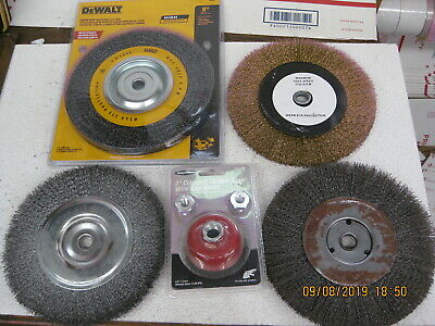 "NEW Dewalt Wire Wheel & 3 used 8"" Wire Wheels & 1 NEW 3"" Wire Brush Cup"
