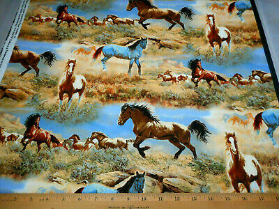Horses Mare Stallion Foal Country Farm Animals Cotton Fabric Print BTY D778.23