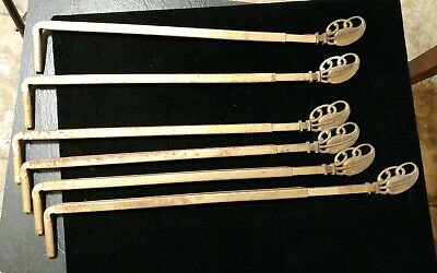 6 Vtg Swing Arm Extendable Curtain Rods without Wall Brackets Ornate Cast Metal
