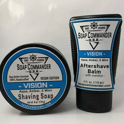 Vision Shaving Soap (6oz) and Aftershave Balm (4oz) - by Soap Commander (Pre-Own