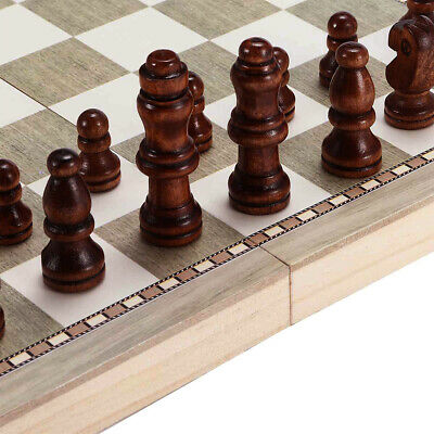 3 in1 Kids Wooden Folding Backgammon Chess Boards Game Checkers Draughts Set Toy