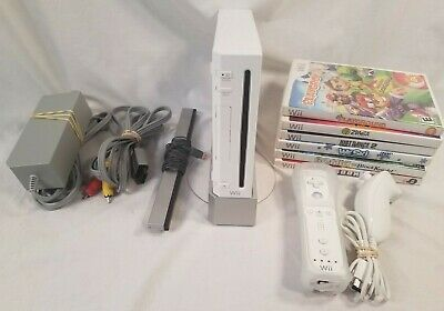 Nintendo Wii White System Console RVL-001 with 6 Games; Tested & Working!