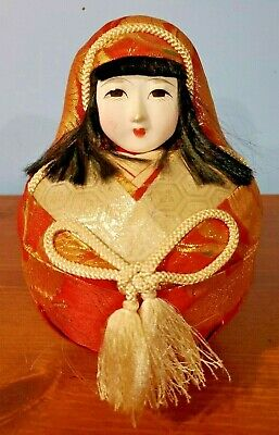 "FIGURE: DOLL, Japanese HINA doll, 8"" tall x 5"" round, red / gold / cream"