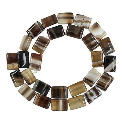 "15.7"" Banded Agate Flat Rectangle 10x14mm Beads #54140"