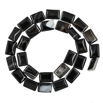 "15.7"" Black Banded Agate Flat Rectangle 10x14mm Beads #54143"