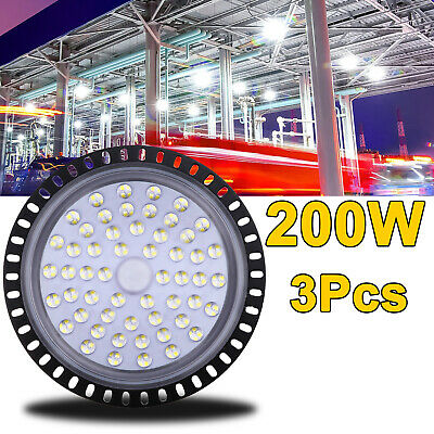 3X 200W UFO LED High Bay Light Fixture Slim Warehouse Industrial Shed Gym Lamp