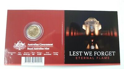 2018 $2 Unc Lest We Forget Eternal Flame 'C' Mintmark Coloured Coin