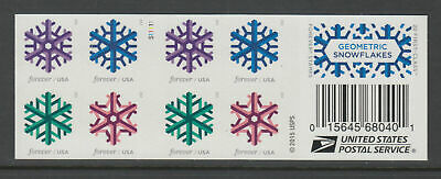 New holiday USPS Geometric Snowflakes Booklet Forever 20 Stamps 2015 Christmas