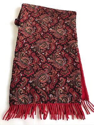 Mens HUGO BOSS SCARF Paisley Patterned Wool Lined Fringed Retro ITALY Vintage