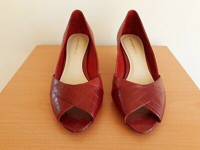 Annapelle, Red Open-Toed High-heeled Shoes, Leather, Size 9