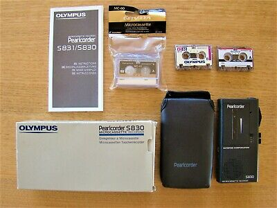 Olympus Pearlcorder S830 Microcassette Recorder with Tapes, Instructions & Batte