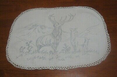 Vintage Table Centre Piece/Doily To Embroider ~ Deer ~ Linen ~ Lace Edged