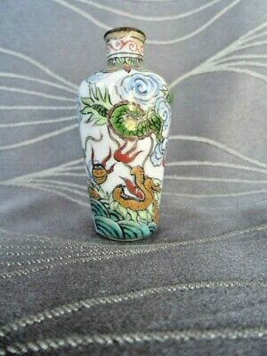 Chinese Enamel on Copper Snuff Bottle - 2 Dragons Chasing the Pearl