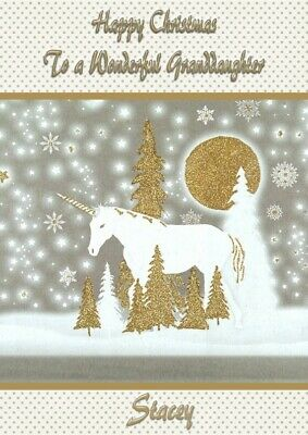 unicorn A5 personalised Christmas card daughter niece granddaughter sister name