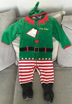Santas Little Helper/Elf Costume/All In One Baby/12-18 Months Mothercare Bnwt 🌲