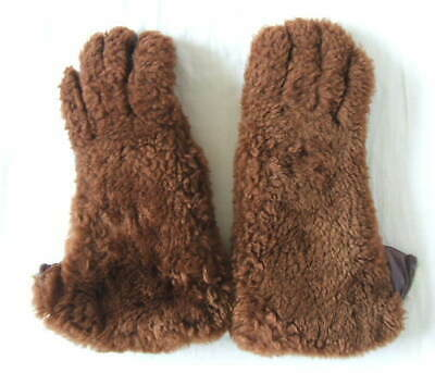 CC41 LADIES FUR AND LEATHER TEDDY GLOVES - 1940s - WWII - S / M SIZE