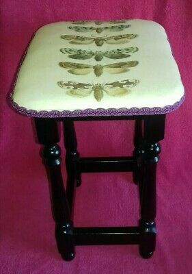 Fab VTG Restored Upholstered Edwardian Pub Style Stool Seat Moths Goth Steampunk