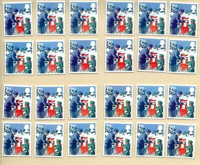 40 2nd Class Christmas Unfranked GB Stamps (Peelable)