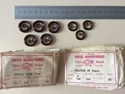 8 Swiss Clock Original Mainsprings SWIZA time and MAUTHE alarm unused in packets