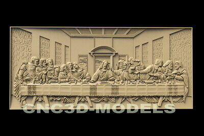 3D STL Model for CNC Router Artcam Christ Religion Da Vinci's Last Supper D44