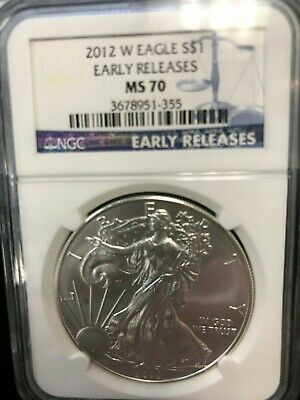 2012-W BURNISHED Early Releases Silver American Eagle - NGC MS70