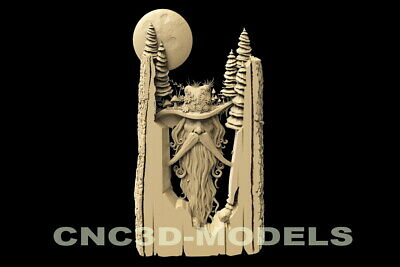 3D Model STL for CNC Router Carving Artcam Aspire Old Man Gandalf Moon D115