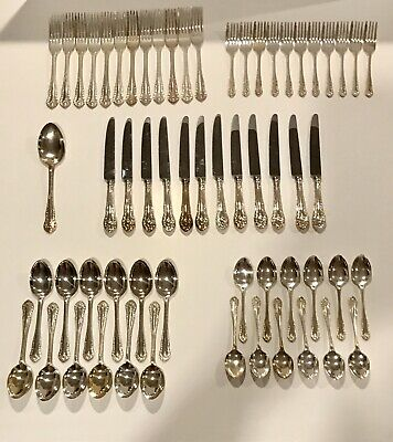 Gadroon Silverplate Flatware By George Butler - Service/12 - EPNS A1 Sheffield