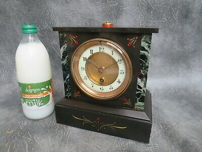 A GOOD WORKING FRENCH BLACK SLATE & GREEN MARBLED 8 DAY CLOCK c1890 *SERVICED*
