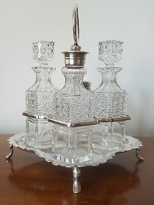 JOHN SHERWOOD & SONS Antique EPNS & glass condiment set on carrying tray. VGC.
