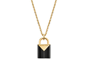 Michael Kors Semi Precious 14K Gold Plated Sterling Silver Onyx Padlock Necklace