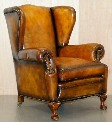 Rare Fully Restored Victorian Wingback Armchair Hand Dyed Brown Leather, Castors