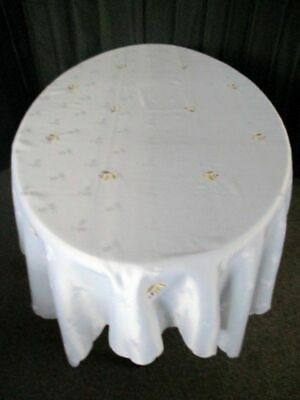 """Large Christmas Tablecloth - Embroidered with holly - 50"""" x 68"""""""