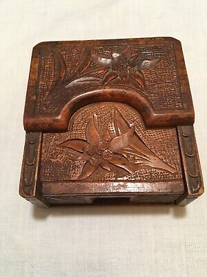 Antique Victorian Wooden Carved Pocket Watch Holder, Very Neat!