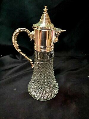 Vintage F.B. Rogers Cut Crystal & Silver Plated Decanter / Pitcher Victorian