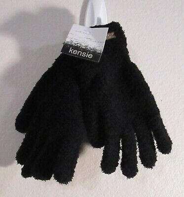 NWT Kensie Womens Cozy Fuzzy Gloves One Size Black MSRP$35