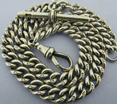 Antique Victorian Solid Sterling Silver Albert Pocket Watch Chain & T-Bar 1896