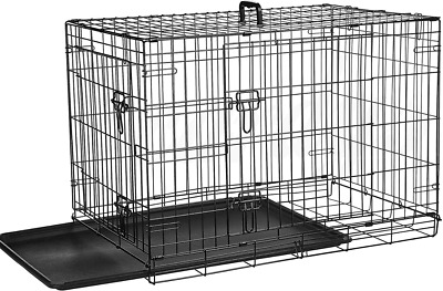 "Pet Cage Dog Cat Kitten Puppy Rabbit Light Duty Crate Folding Carrier 30"" 36 42"""