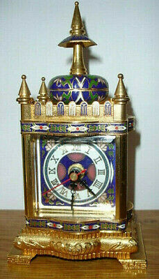 Cloisonne Enamel Mantle Clock - Modern Solid Brass