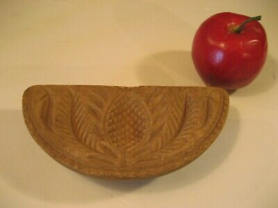 Large Early Antique Half Moon Hand Carved Butter Print-Early Form