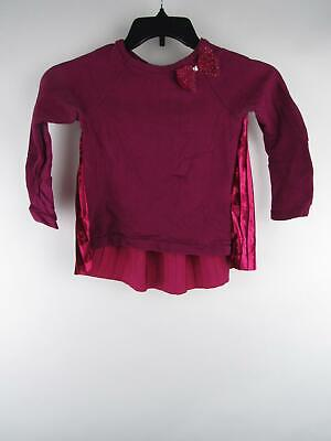 Carter's Girl sz 6 Purple Cotton Blend Embellished Bow Long Sleeve Blouse Top
