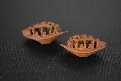 Fine Antique Pair Of Chinese Carved Heidao Nut Boats