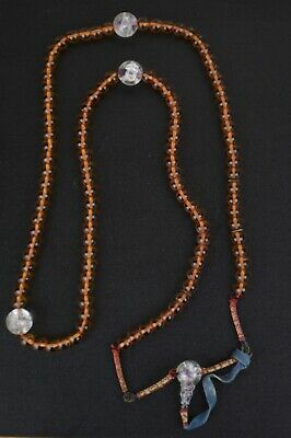 Antique Chinese 19th C Qing Peking Glass And Crystal Court Necklace