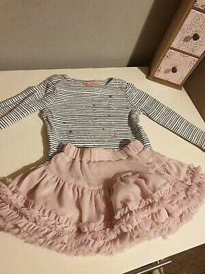 Joules Girls Star Christmas  Top And Tutu Star Skirt Set Size 2 Years