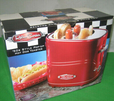 Nostalgia RETRO RED Retro Pop-Up 2 Hot Dog & Bun Toaster 50s Style