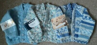 Hand Knitted Baby Boy's  Cardigans In 3 Blue Variations To Fit From Birth