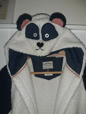 Girls Fat Face Cute Bear Dressing Gown Age 6-7yrs Navy blue and white